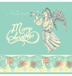 Christmas angel greeting card vector