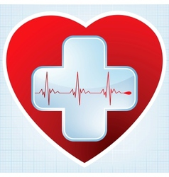 Heart medical cross vector image vector image