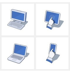 Personal computer and mobile vector image vector image