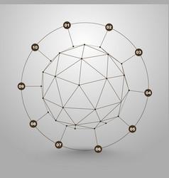 polygonal sphere of information vector image