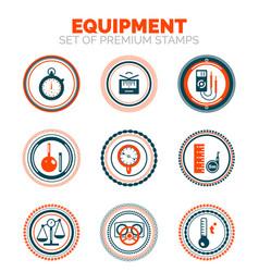 Set of measure equipment premium design stamp vector
