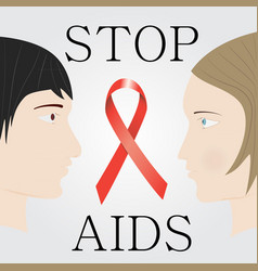Stop aids concept with faces of man and woman vector