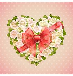 white roses heart vector image