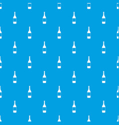 wine bottle pattern seamless blue vector image