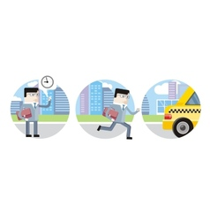 Businessman in suit late for work and catch taxi vector image