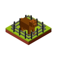 Dog and fence icon isometric design vector