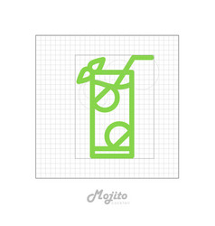 icon of cocktail with modular grid mojito vector image
