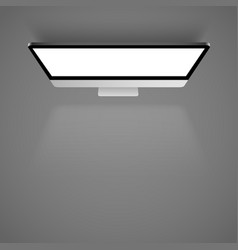 monitor white light top view background vector image