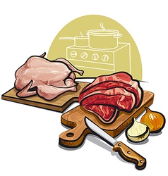 raw meat for cooking vector image vector image