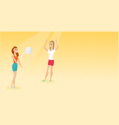 Two caucasian women playing beach volleyball vector