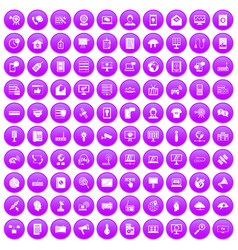 100 telecommunication icons set purple vector image vector image