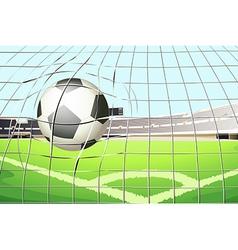 A ball hitting the soccer goal vector image