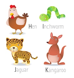 Alphabet with animals from H to K Set 2 vector image vector image