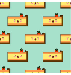 seamless pattern with piece of cakes isolated on vector image