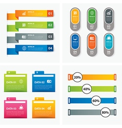 set of infographic templates flat design vector image