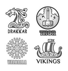 viking scandinavian ancient warriors labels set of vector image