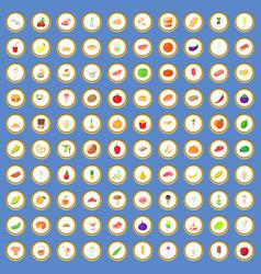 100 food icons set cartoon vector