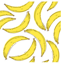 banana seamless pattern endless yellow bananas on vector image
