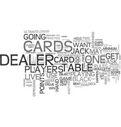 Basic rules of live dealer blackjack text word vector