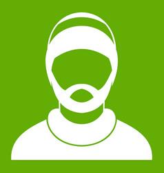 Bearded man avatar icon green vector