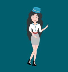 beautiful brunette girl on the flight attendant vector image