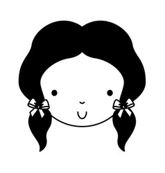 Black icon cute girl face vector