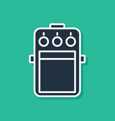 Blue guitar pedal icon isolated on green vector