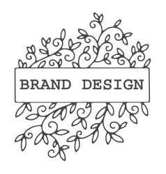 brand design colorless floral decoration label vector image