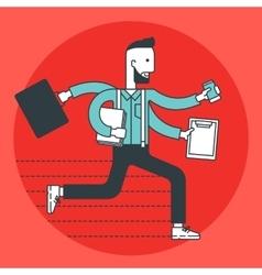 Busy businessman running vector