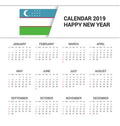 Calendar 2019 uzbekistan flag background english vector