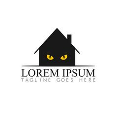 cat house concept logo design template vector image