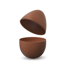 Chocolate egg broken realistic eggshell with two vector
