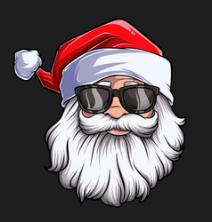 christmas santa claus face with sunglasses vector image