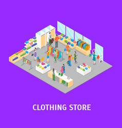clothing store interior with furniture card poster vector image