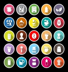 Coffee and tea flat icons with long shadow vector