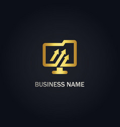 computer business arrow gold logo vector image