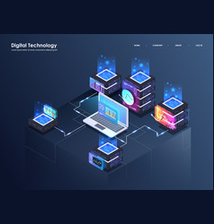 Concept of big data processing isometric data vector
