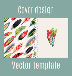 Cover design with feathers pattern vector