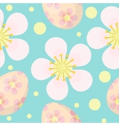 Cute Easter seamless pattern with eggs and flowers vector image