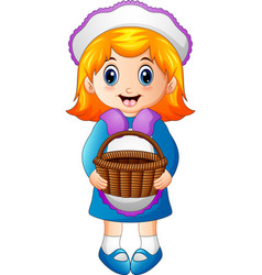 cute little girl holding a basket vector image