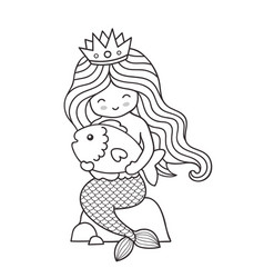 cute little mermaid with big fish sitting on a vector image