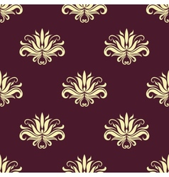 Dainty floral purple and beige seamless pattern vector