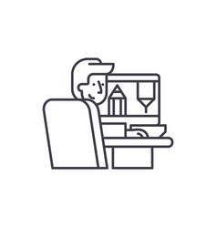 designer at work line icon concept designer at vector image