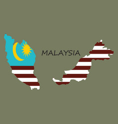 Detailed of a map of malaysia with flag eps10 vector