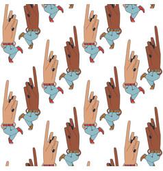 Fantastic creatures looking as hands in pattern vector