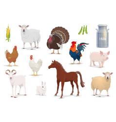 Farm animals cartoon isolated icons set vector