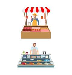 Farmer in kiosk selling meat vector