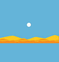 Flat landscape background blue sky sand vector