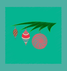 Flat shading style icon christmas tree toys vector