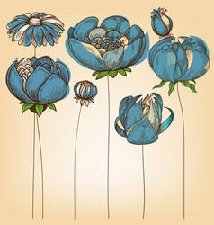 floral background cute blue flowers design vector image vector image